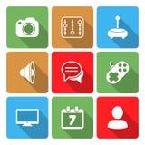 Media Icons Set with color sadow Vol 2 Stock Photos