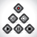Media Icons Set Design Stock Photo