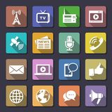 Media icons set Stock Photos