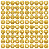 100 media icons set gold. 100 media icons set in gold circle isolated on white vector illustration Royalty Free Stock Photography