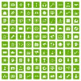 100 media icons set grunge green Royalty Free Stock Photography
