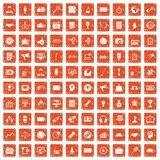 100 media icons set grunge orange. 100 media icons set in grunge style orange color isolated on white background vector illustration Stock Image
