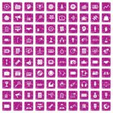 100 media icons set grunge pink. 100 media icons set in grunge style pink color isolated on white background vector illustration Stock Image