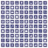 100 media icons set grunge sapphire Royalty Free Stock Photo