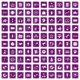 100 media icons set grunge purple Stock Photos
