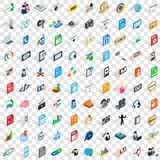100 media icons set, isometric 3d style Royalty Free Stock Photos