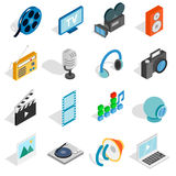 Media icons set, isometric 3d style Stock Image