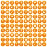 100 media icons set orange. 100 media icons set in orange circle isolated on white vector illustration royalty free illustration