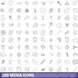 100 media icons set, outline style. 100 media icons set in outline style for any design vector illustration Royalty Free Stock Photo