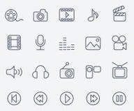 Media icons. Set of 20 photo video icons Stock Photos