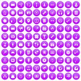 100 media icons set purple. 100 media icons set in purple circle isolated on white vector illustration vector illustration