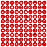 100 media icons set red. 100 media icons set in red circle isolated on white vector illustration Royalty Free Stock Photo