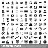 100 media icons set in simple style Royalty Free Stock Photography
