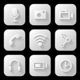 Media icons set Stock Photos