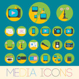 Media icons set Stock Images