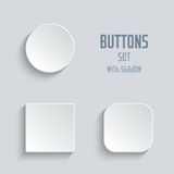 Media icons set - vector white app buttons Stock Photography