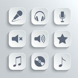 Media icons set - vector white app buttons Stock Image