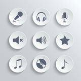 Media icons set - vector white round buttons Stock Photography
