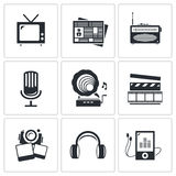 Media icons set - video, news, music, TV, recording, photo Stock Image