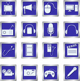 Media icons on square buttons Royalty Free Stock Photos