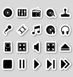 Media icons on stikers Stock Images