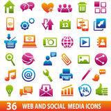 Media icons for Web. Set of 36 web and social media icons Royalty Free Stock Photography