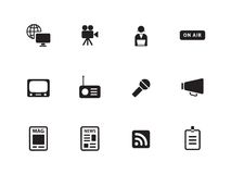 Media icons on white background. Stock Image