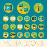 Media-Ikonen eingestellt lizenzfreie abbildung