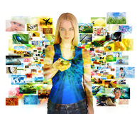 Media Images Girl with Remote Control. A girl has a remote control on a white background and looking at various images channels from a television for an Stock Images