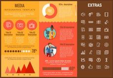 Media infographic malplaatje, elementen en pictogrammen Stock Afbeeldingen