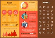 Media infographic template, elements and icons. Infograph includes customizable graphs, charts, line icon set with social media, user profile, broadcast media Stock Images