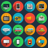 Media and information channels icons with long Royalty Free Stock Photo