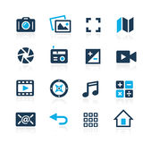 Media Interfacepictogrammen Azure Series royalty-vrije illustratie