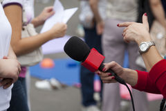 Media interview. TV or radio reporter interview Royalty Free Stock Images