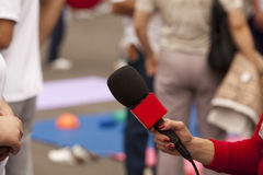 Media interview. TV or radio reporter interview Stock Photos