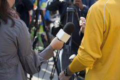 Media interview. With the microphone Stock Images