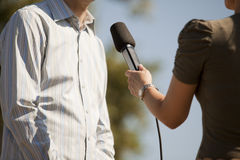 Media interview. TV or radio reporter interview Royalty Free Stock Image