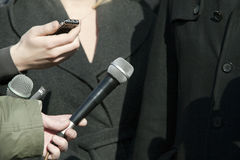 Media interview. TV or radio reporters interview Royalty Free Stock Photography