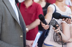 Media interview. Broadcast journalism. Royalty Free Stock Photo