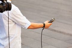 Media interview. Broadcast journalism. News conference Stock Images
