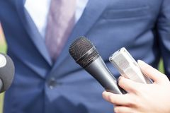 Media interview. With business person, politician or spokesman Stock Image