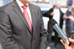 Media interview. With businessman or politician Stock Image