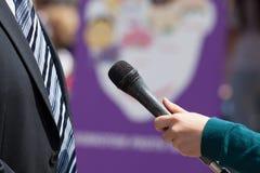 Media interview. With businessman, politician or spokesman Stock Photo