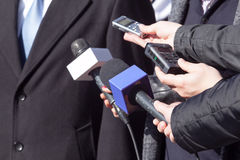 Media interview. With businessperson or politician Royalty Free Stock Photos