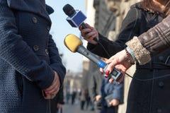 Media interview. Journalism Stock Photos
