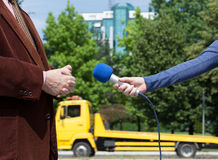 Media interview. Journalist making interview with businessperson or politician Royalty Free Stock Image