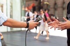 Media interview. Journalist making press interview. Hand gestures Royalty Free Stock Images