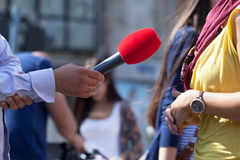 Media interview. Journalist making interview with woman Stock Photos