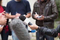 Media interview. Journalists. Royalty Free Stock Photos