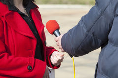 Media interview. With the microphone Stock Photos